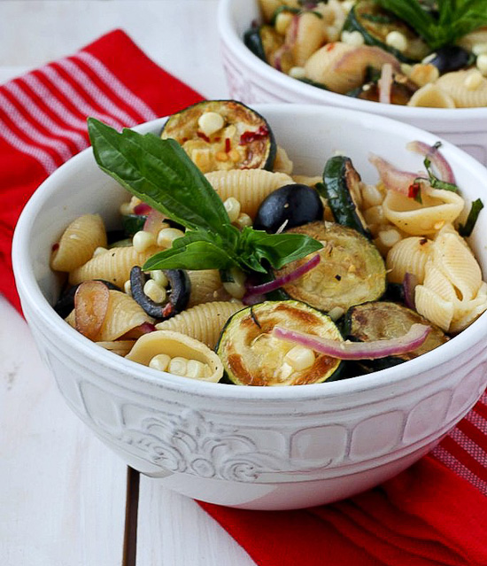 Warm Pasta Salad With Corn And Zucchini Recipe — Dishmaps