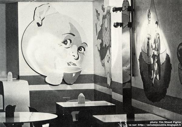 Londres - Mr Feed'em, Restaurant de la boutique Mr Freedom, Kensington Church Street  Designer: Jon Wealleans  Illustrations, peintures: Mediocre Murals (Les Coleman & Jeff Edwards), George Hardie.  Création: 1971