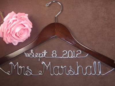 Beautiful bridal personalized wedding dress hangers for Personalized wire wedding dress hanger