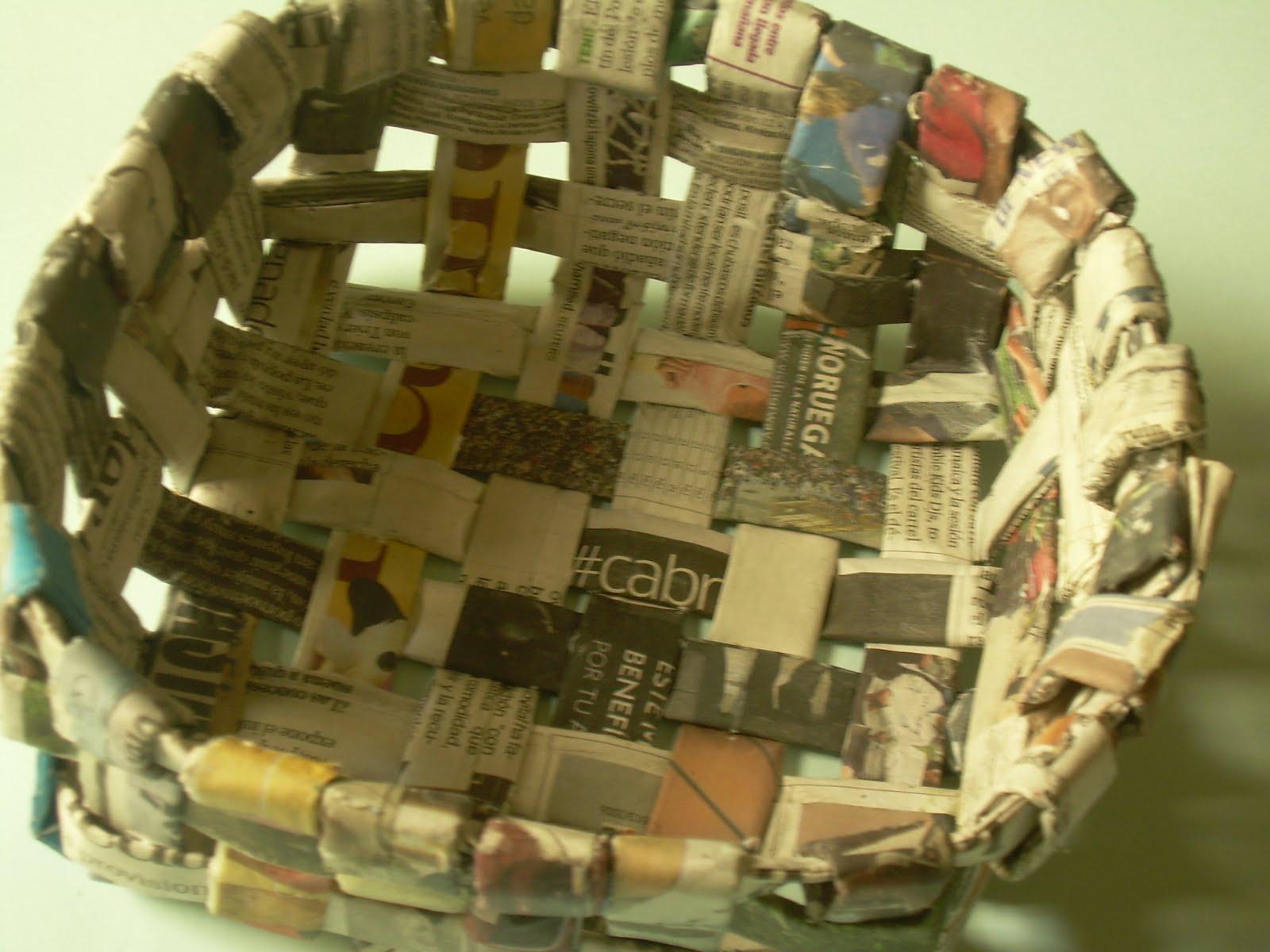 Naroha tutorial de cestas de papel peri dico - Cestas de papel de periodico ...