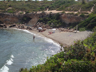Tarragona Beach landscape - In the middle of the rocks