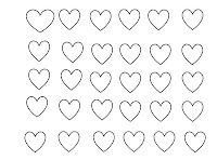 hearts, Valentines, Valentine's, colouring page, craft, template, downloadable