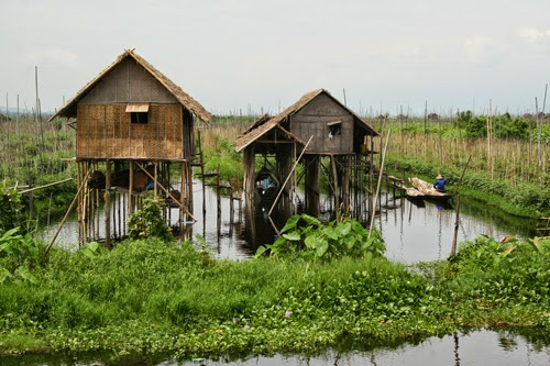 Stilt houses in Maing Thauk, Burma