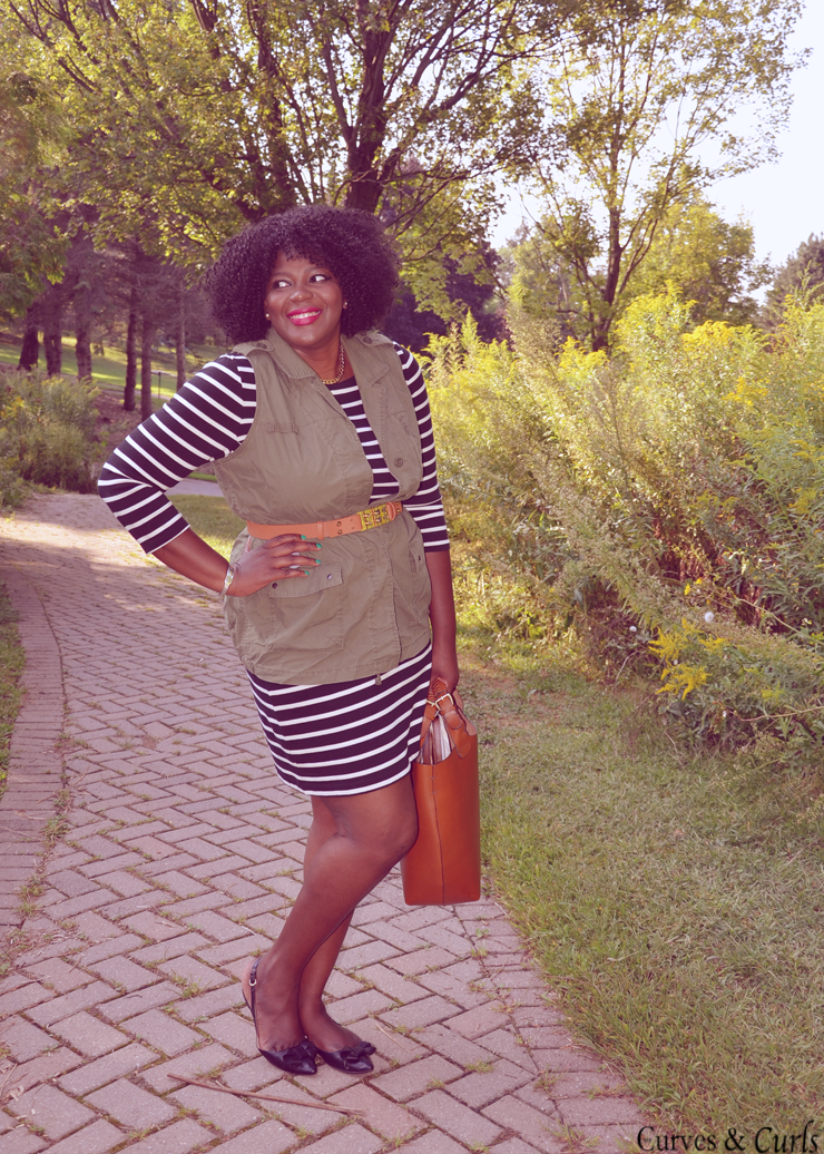How to wear a layer a striped dress add an utility vest