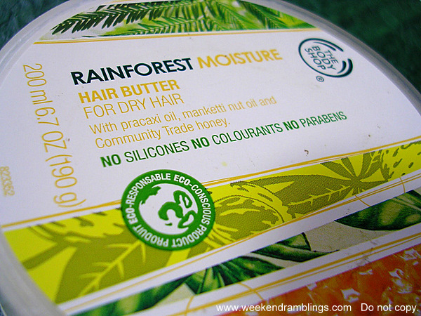 Tbs bodyshop rainforest moisture hair butter dry conditioner mask reviews ingredients