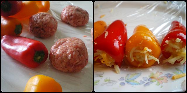 """""""Ovillo"""" de carne relleno de pimiento con queso: Elaboración, paso 1"""