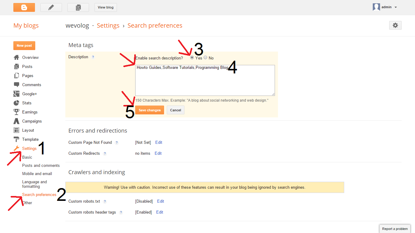 meta description setting for homepage in blogger blogspot blog