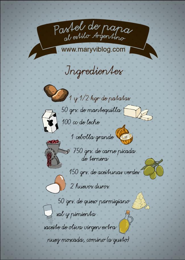 pastel de papa: ingredientes