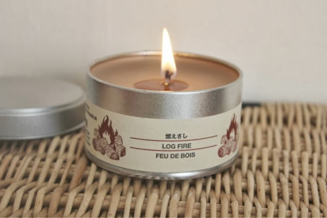 Muji Log Fire Candle