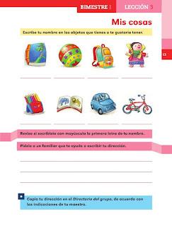 Apoyo Primaria Español 1er grado lección 3 Mis cosas
