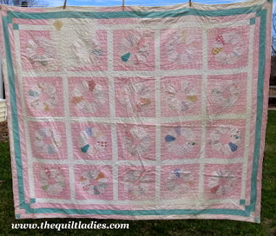 old dresden plate quilt in pink