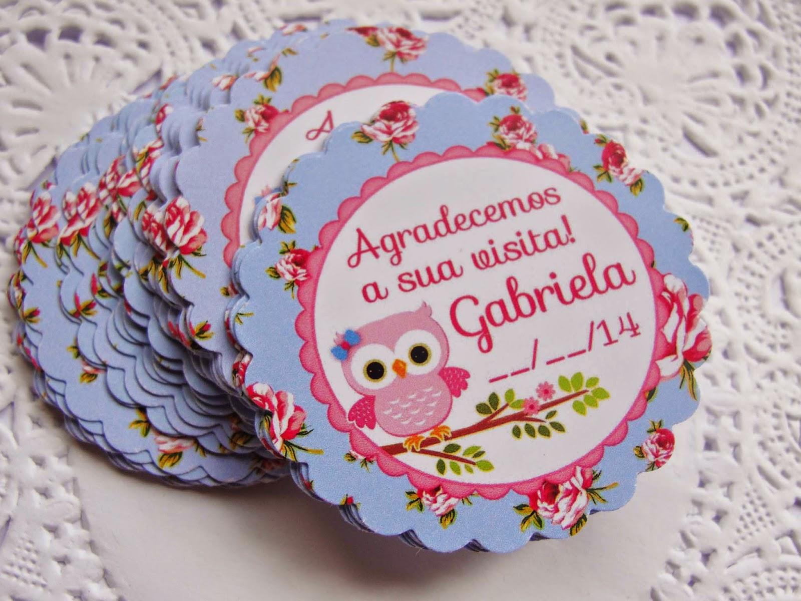 Adesivo De Lembrancinha ~ Charme papeteria Tag nascimento e adesivo para potinho Corujinha