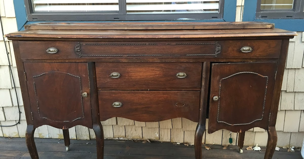 Antique Wooden Buffet ~ Simplycozyrestoration grey and wood antique buffet