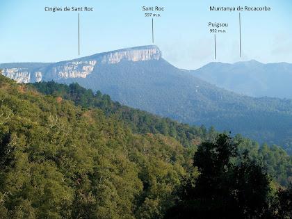 La cinglera de Sant Roc i Rocacorba vistes des de l'alçada de Cal Paradís