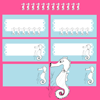 seahorse doodle tags