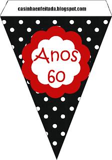 bandeirinhas kit festa anos 60 para imprimir