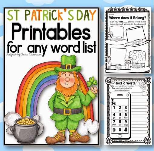 St. Patrick's Day printables for any word list Clever Classroom