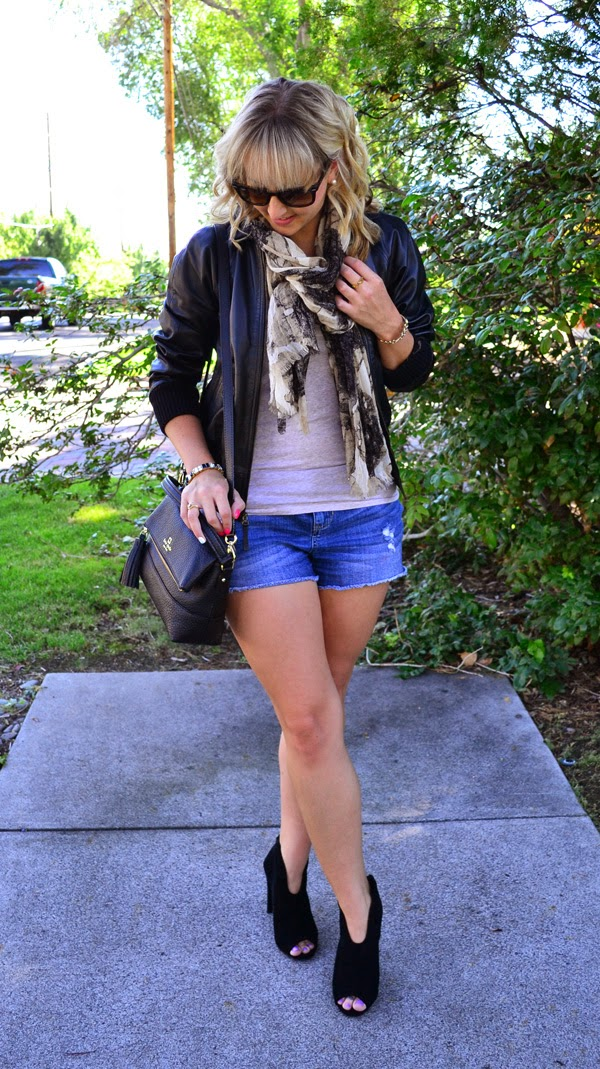 leather jacket, fall transition pieces, fashion blog, ray-ban