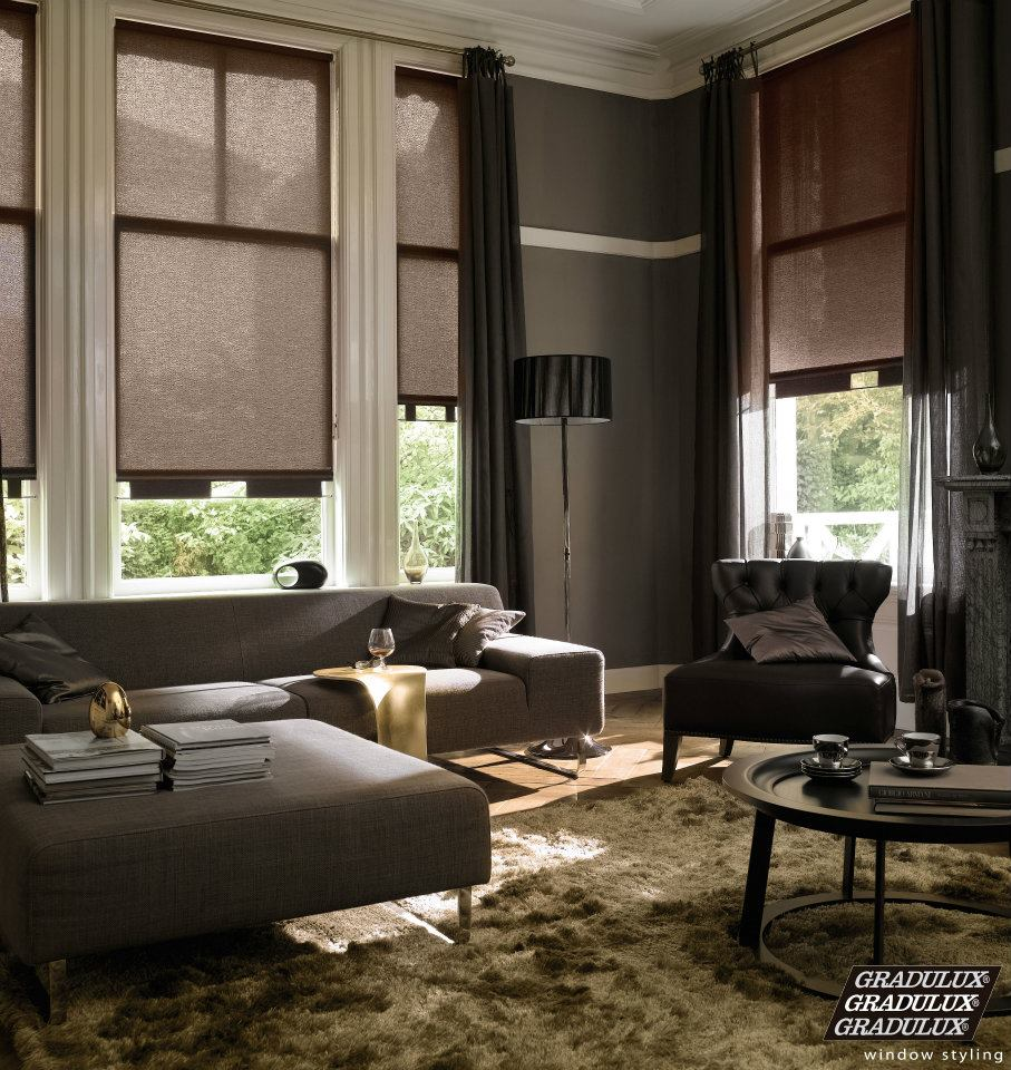 Roller Blinds great example of how they hang out from door to go ...