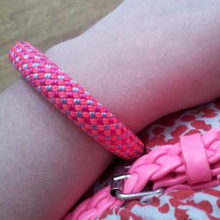 Bright pink rope jewellery bracelet