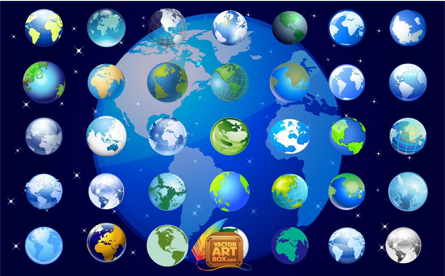 地球儀のアイコン セット Earth Globe Icons Set イラスト素材