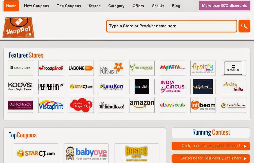Shoppal.in has an user friendly home page