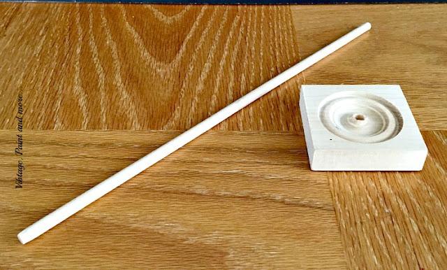 wood dowel rod and wood medallion for diy washi tape organizer