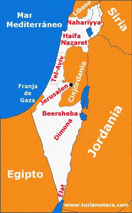 mapa actual de israel