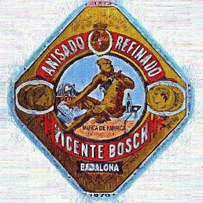 Etiqueta de l'Anís del Mono (Esmeralda Vallverdú)