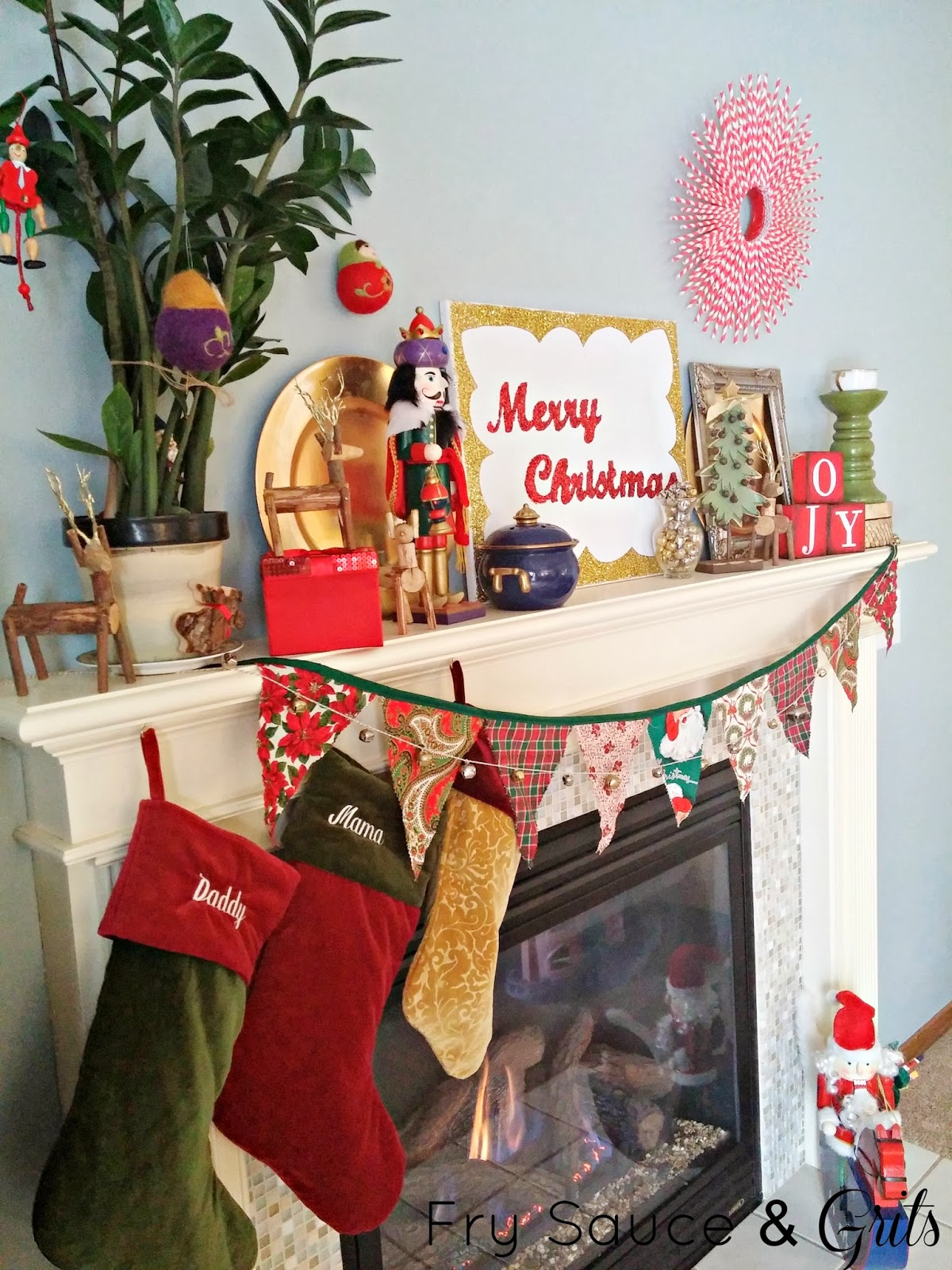 Christmas Mantel Decor from Fry Sauce and Grits
