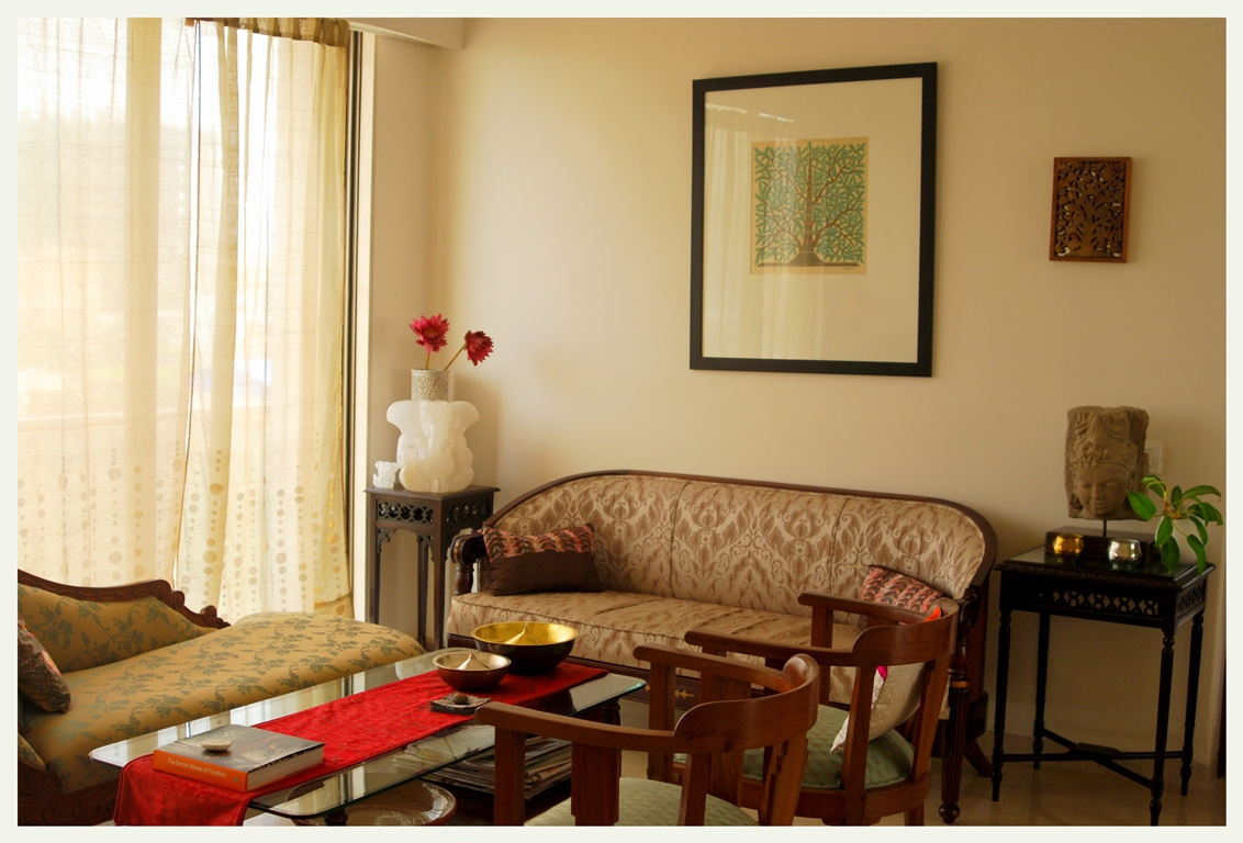 A home in bombay an indian summer for Designs for living room in india