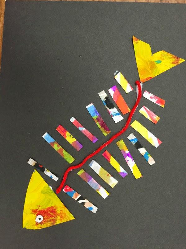 Line Project Art : Fine lines first grade fish collage
