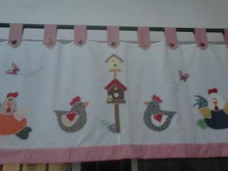 Bando para cozinha; bando em tecido; patch aplique; galinhas