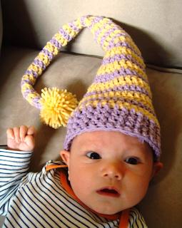 crocheted baby elf hat