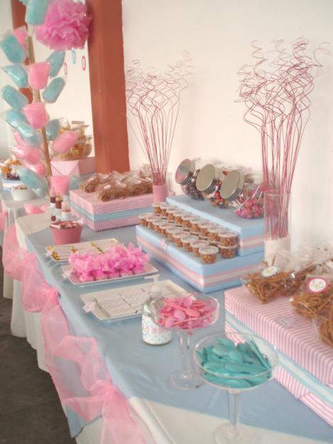 Mesa de dulces ideaskreativasparatuevento for Como decorar mesa de postres para baby shower