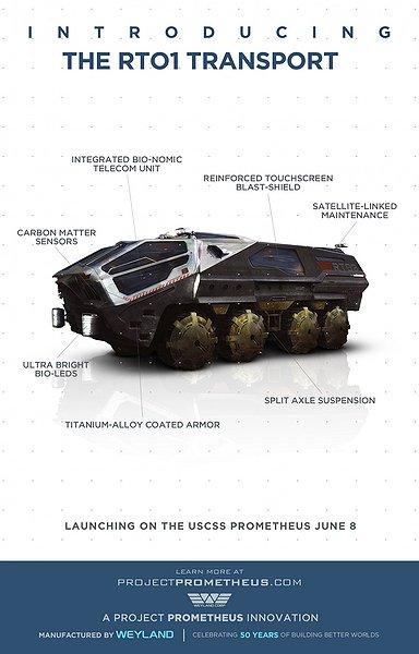 prometheus IMAX 3D movie, the rt01 transport