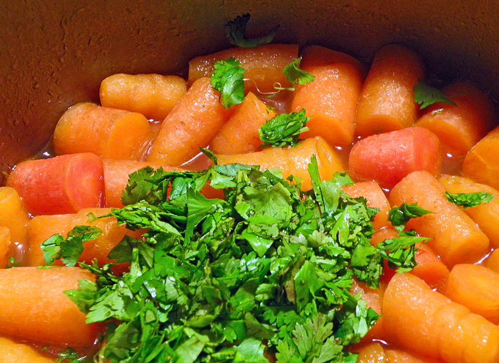 Cilantro Added to Carrots Before Puree