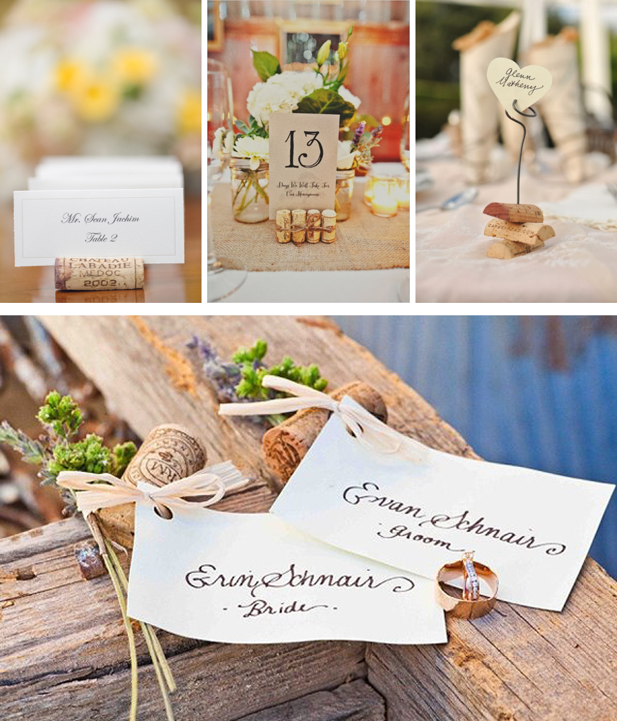 Ideas para decorar tu boda con corchos de vino: sittings