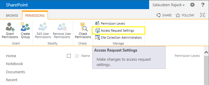 sharepoint 2013 allow access request