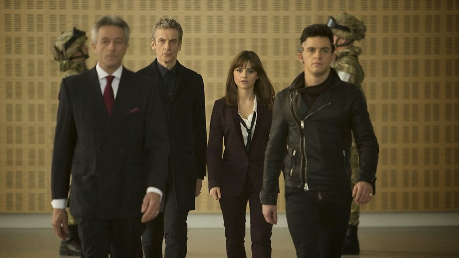The Doctor and Clara with Psi and a disguised Saibra