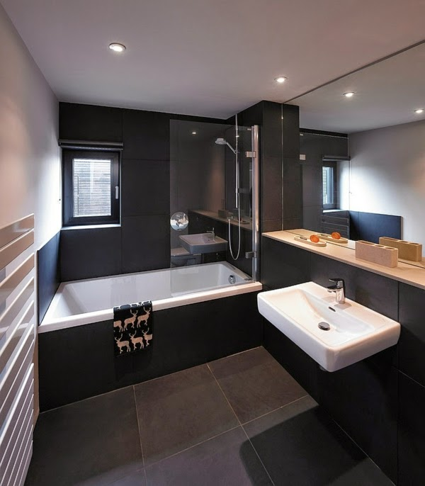 17 modern luxury bathroom designs black gray color schemes for Bathroom design ideas black and white