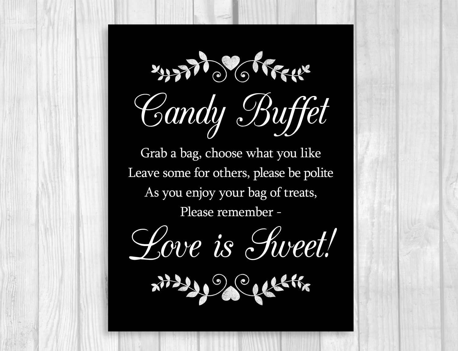 Black and White Wedding Signs with Hearts and Laurels from ...