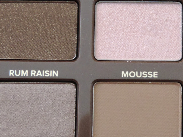 Too Faced Semi-Sweet Chocolate Bar Palette (from top left) Cocoa Chilli, Pink Sugar (bottom left) Rum Raisin, Mousse