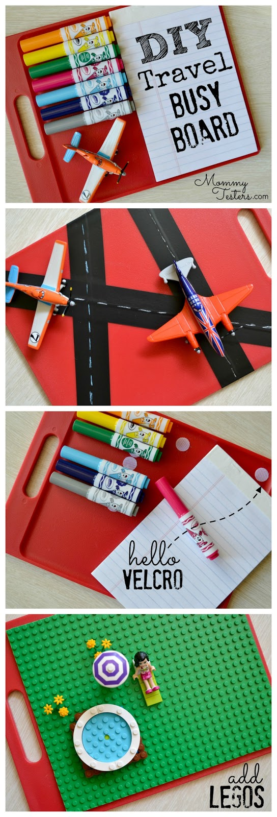 Mommy Testers DIY kids entertainment board, DIY travel entertainment, DIY busy board, DIY Lego board