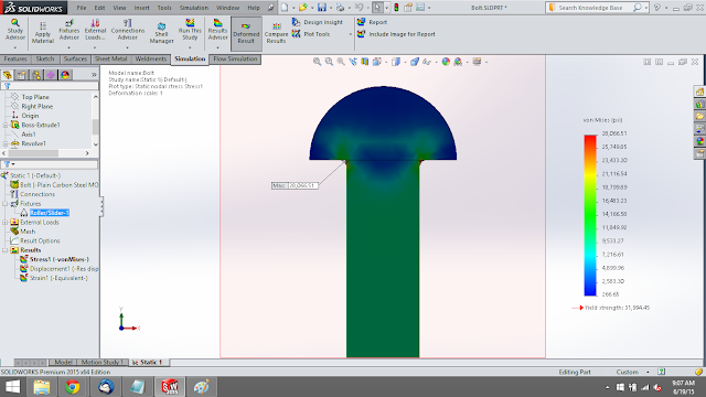 static analysis of bolt in solidworks simulation