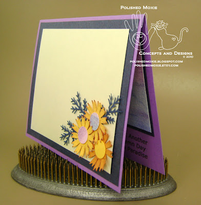 Picture of the inside of the card sitting at an angle to show dimension of the flowers