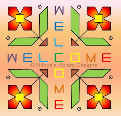 Welcome kolam Dots 14 x 14
