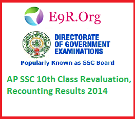 AP SSC 10th Class 2014 Revaluation Recounting Application Form and Fee with results marks