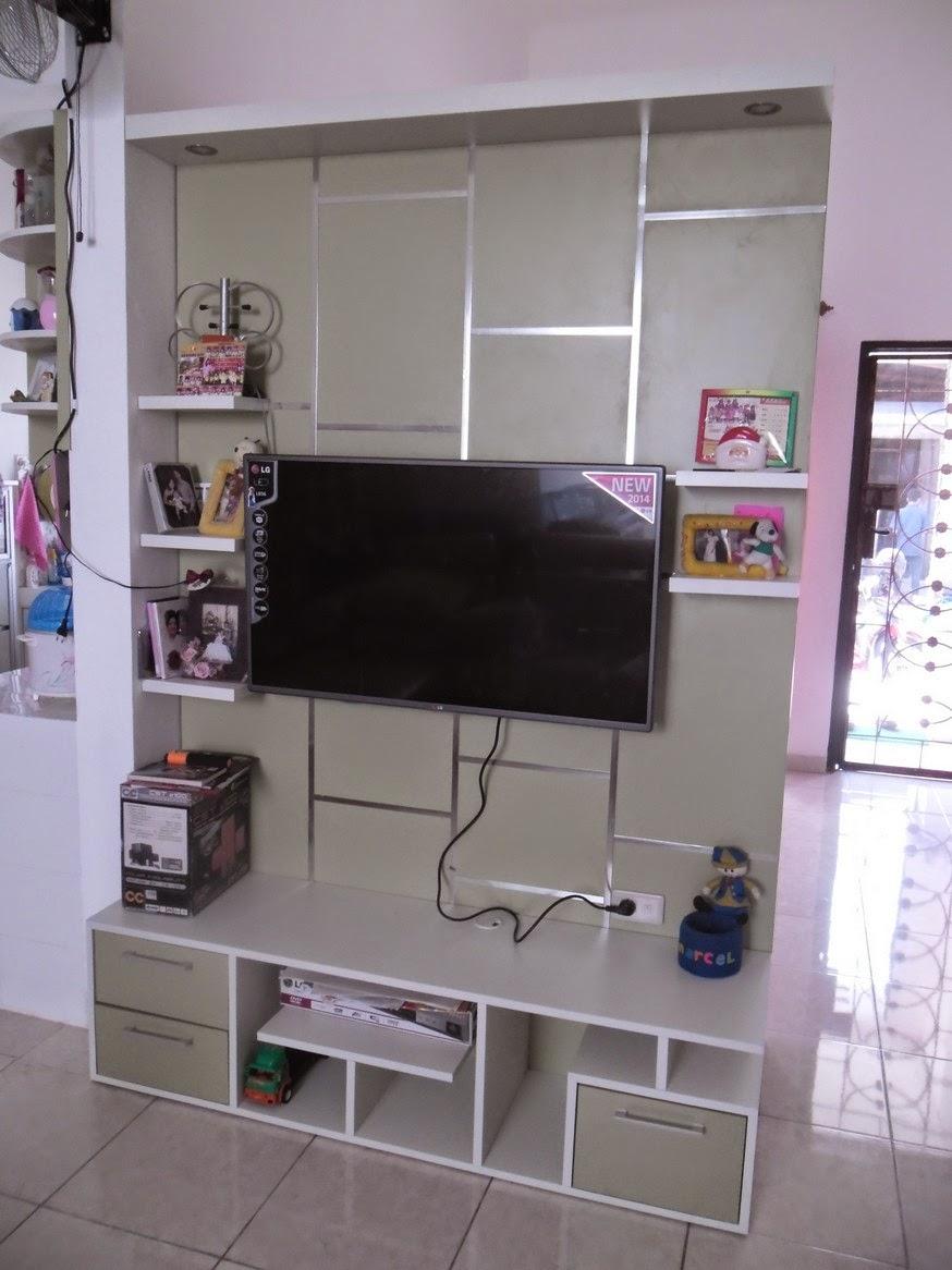 Rak TV Background Dinding Untuk Rumah