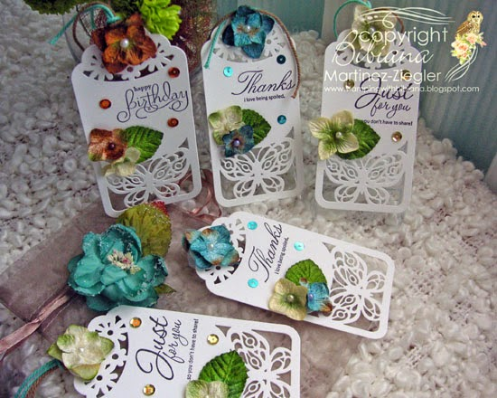 group of gift tags mage with petaloo flowers